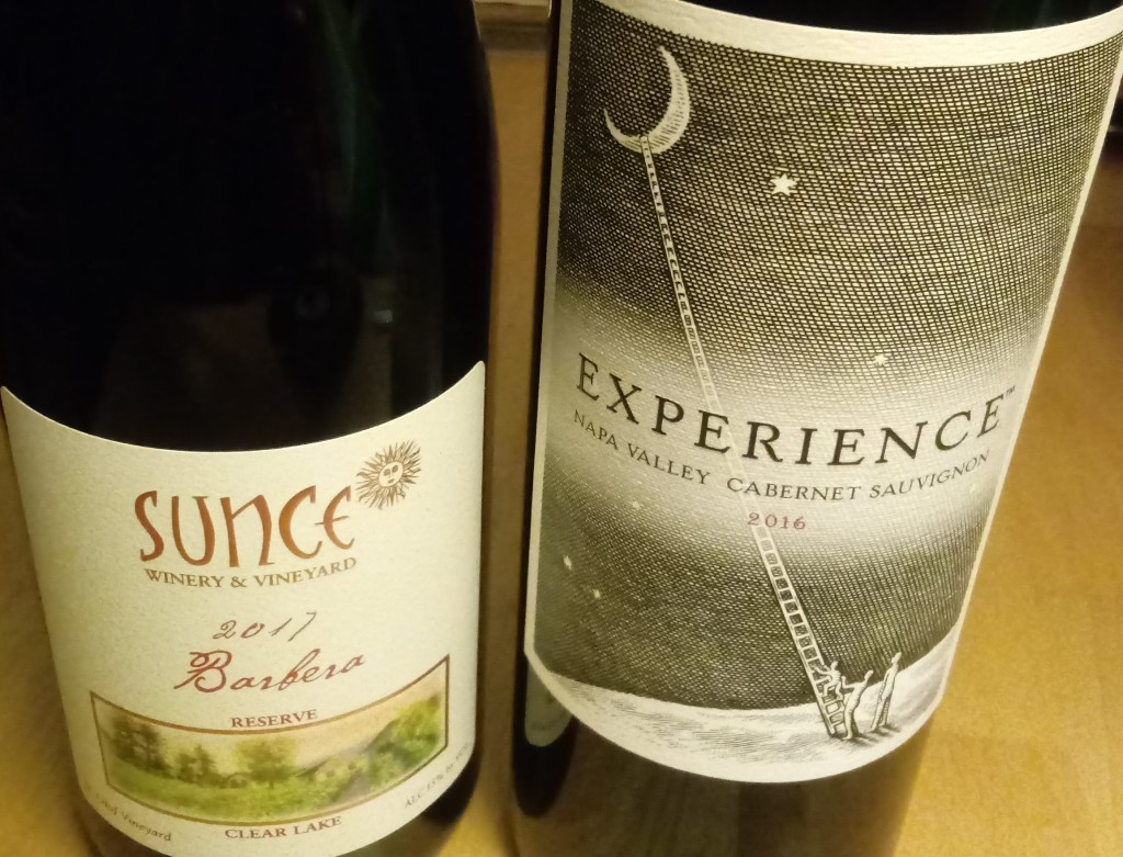 Grocery Outlet wine sale. The image shows two wines purchased before the sale: Sunce barbera 2017 and Experience cabernet sauvignon, 2016.