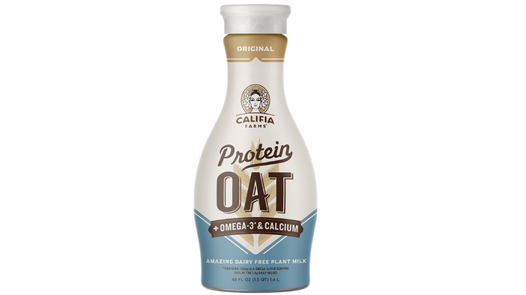 Califia Protein Oat milk, photographed in it's amphora-shaped plastic packaging. How sustainable is Califia?