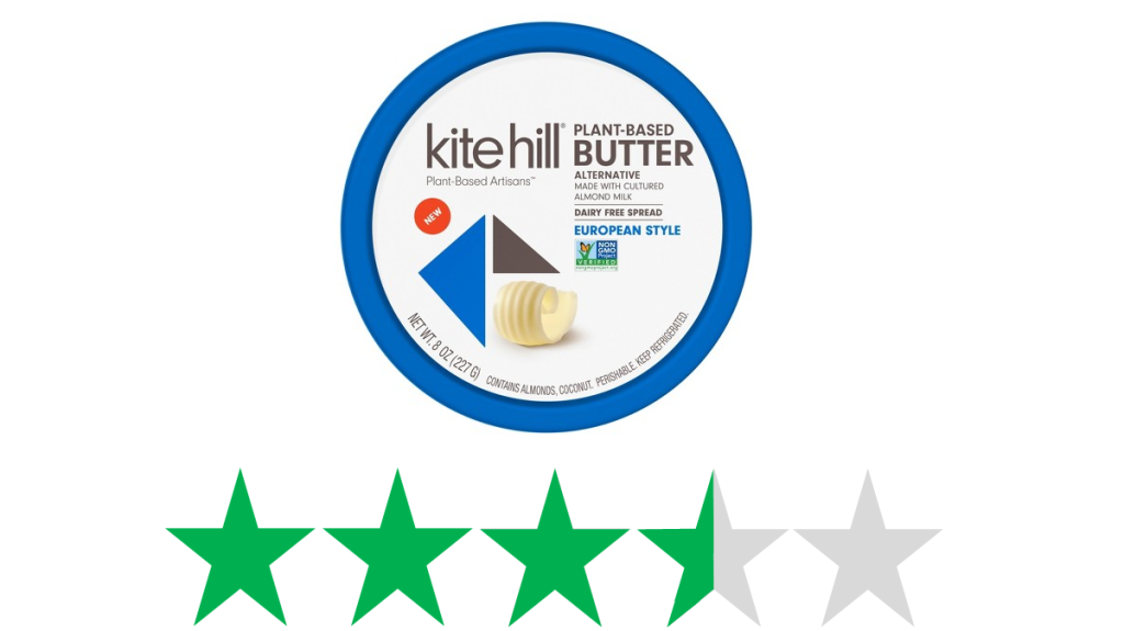 How sustainable is Kite Hill butter? An image of a tub of Kite Hill Butter is shown above an ethical rating of 3 out of 5 green stars.