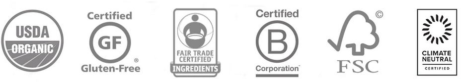 Certifications for Alter Eco Salted Caramel Truffles. The certification symbols are shown for organic, gluten-free, Fair Trade, B-Corporation, FSC, and Climate Neutral