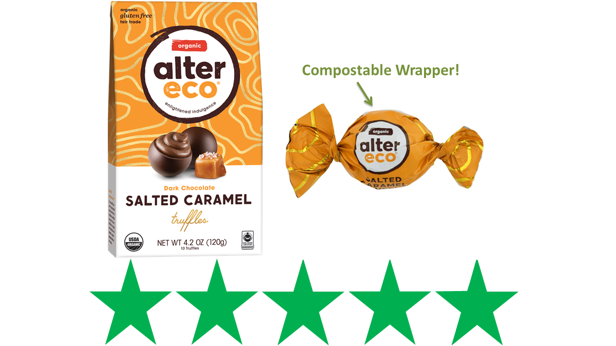 Alter Eco Salted Caramel Truffles - ethical review. An image of the box of Alter Eco truffles is shown next to a single truffle in a wrapper that's labeled as compostable. Underneath this is an ethical score of 5/5 Green Stars.