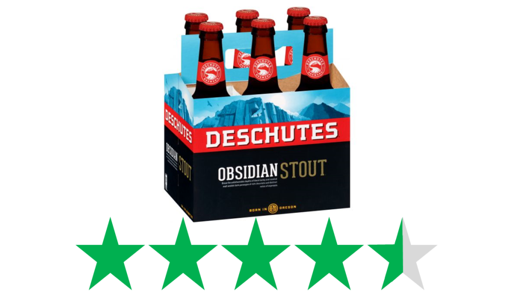 Deschutes Obsidian Stout - a photo of a six-pack of this stout from Deschutes Brewing is shown over a graphic of 4.5 Green Stars, representing an ethical rating (on a scale of 1-5 green stars)