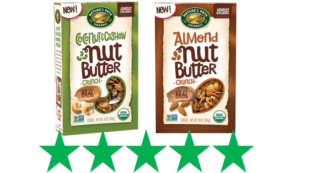 Nature's Path nut butter cereal review. An image of Nature's Path nut butter cereal varieties, Coconut and Cashew crunch, and Almond crunch is shown with an ethical rating of 5 Green Stars beneath it.