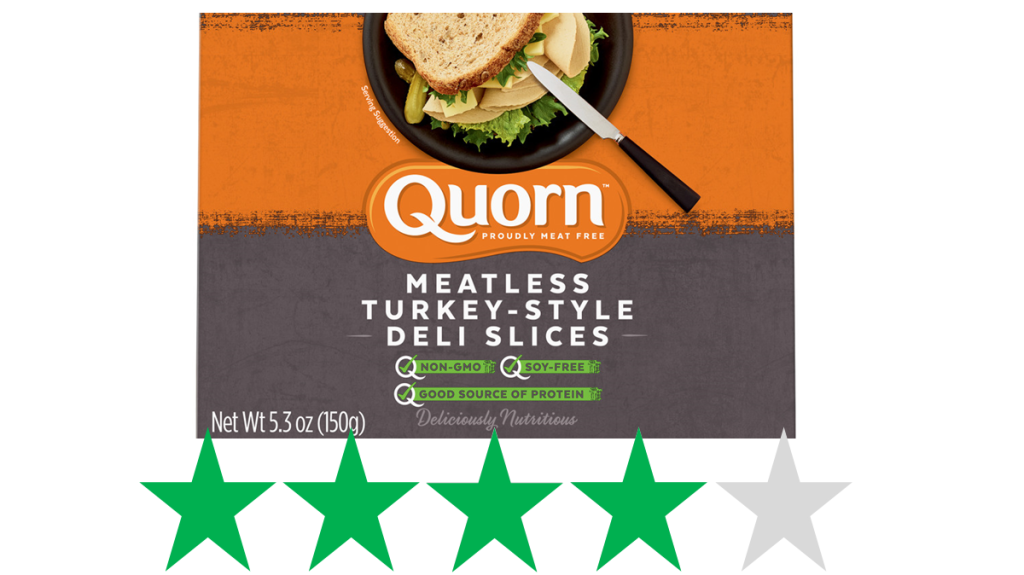 Quorn Turkey-Style Deli Slices ethical review. An image of a package of Quorn Meatless Turkey-Style Deli Slices is shown over a graphic of 4 Green Stars, representing an ethical rating for social and environmental impact.
