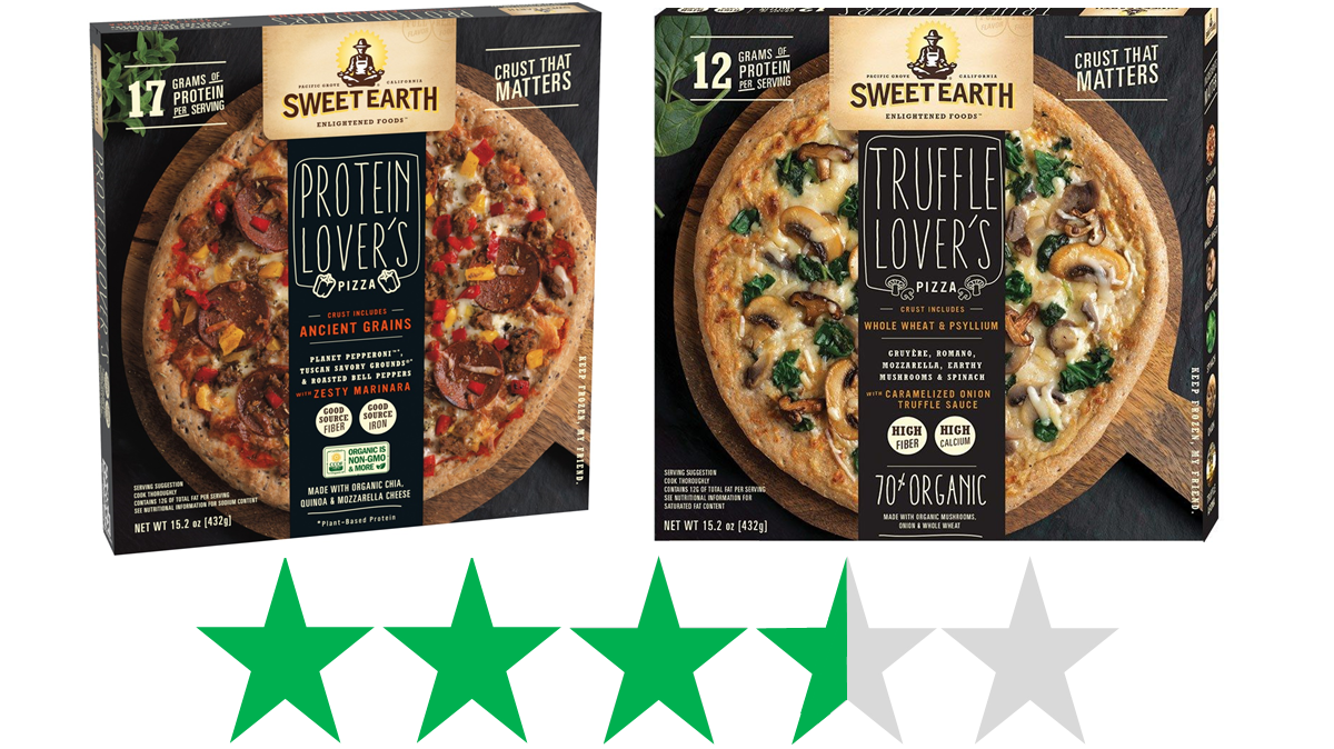 Sweet Earth pizzas are shown - the Protein Lover's and Truffle Lover's pizzas - and an ethical rating of 3.5 out of 5 Green Stars for social and environmental impact