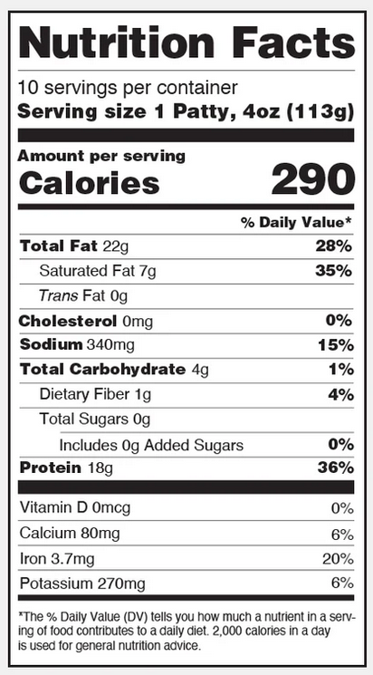 Beyond Meat Cookout Classic burgers - Nutrition Facts. 290 calories total, including 22 g fat, 1 g fiber, 0 g sugars, and 18 g protein. Also provides 20% of iron daily recommended intake.