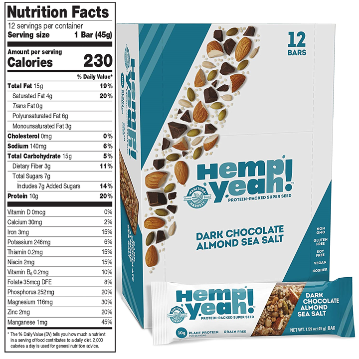Hemp Yeah! Dark Chocolate Almond Sea Salt bars – Nutrition Facts are shown alongside an image of a box of 12 bars