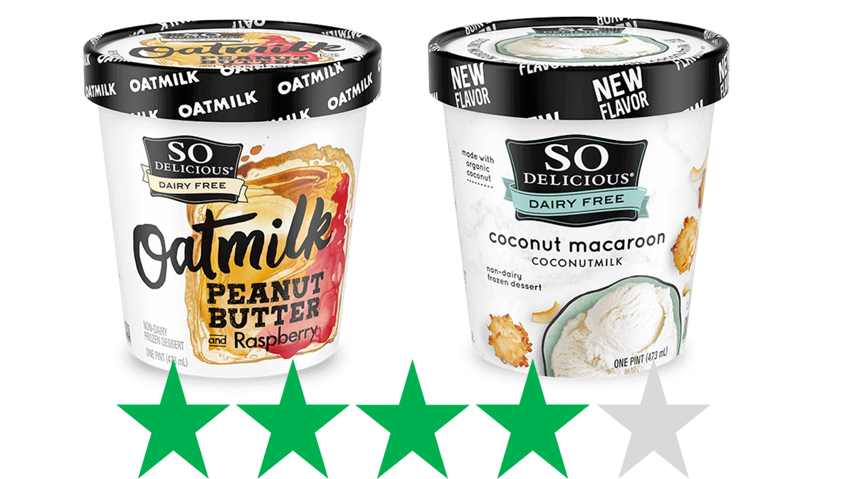 So Delicious vegan ice creams – Peanut Butter and Raspberry and Coconut Macaroon ice creams are shown with an ethical score underneath of 4 Green Stars for social and environmental impact.