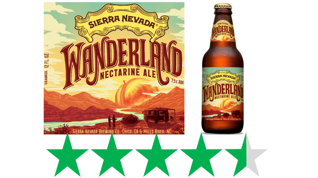 Sierra Nevada Wanderland nectarine ale - ethical rating. An bottle of Wanderland nectarine ale from Sierra Nevada Brewing Co., along with label art details, are shown above an ethical score of 4.5 out of 5 Green Stars for social and environmental impact.