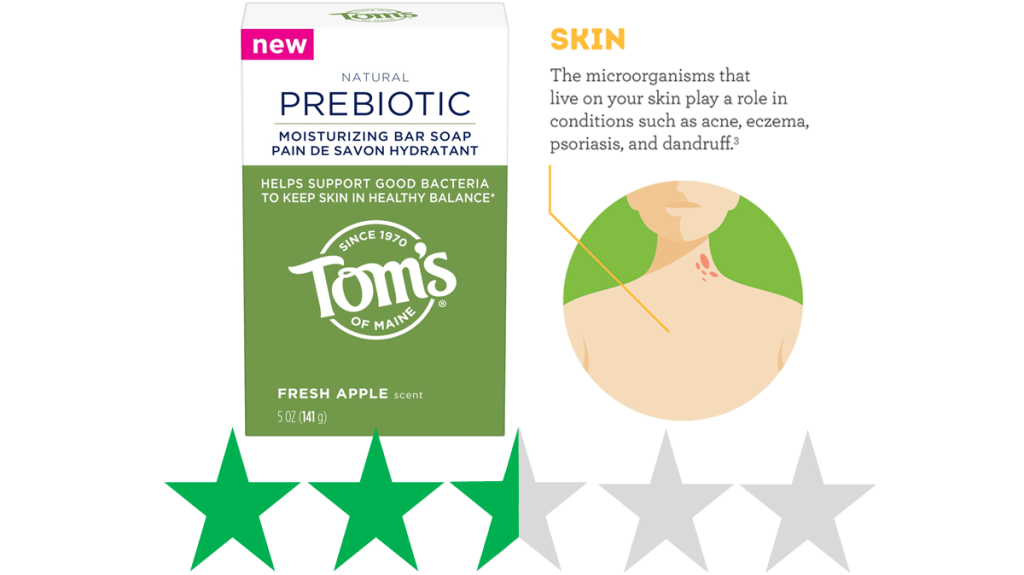 Tom's of Maine Prebiotic soap is shown with an ethical rating graphic of 2.5 out of 5 green stars for social and environmental impact.