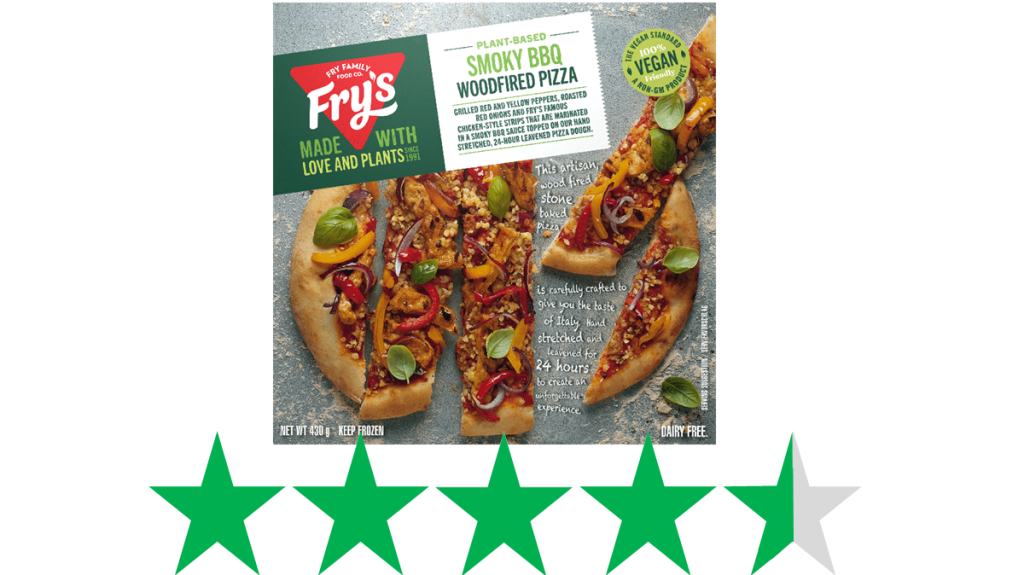 Fry Family Foods Smoky BBQ Woodfired Pizza is shown with an ethical rating of 4.5 out of 5 green stars for social and environmental impact