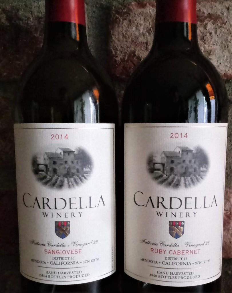 Grocery Outlet Wine Sale, Spring 2021. Top picks are Cardella 2014 Sangiovese and Ruby Cabernet. Bottle labels are shown.