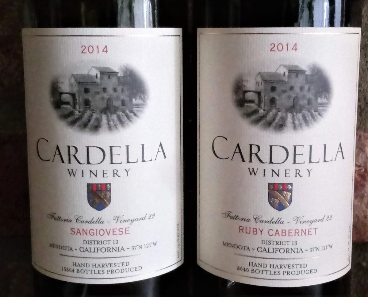 Grocert Outlet Wine Sale, Spring 2021. Top wine picks - Cardella Winery Sangiovrese and Ruby Cabernet