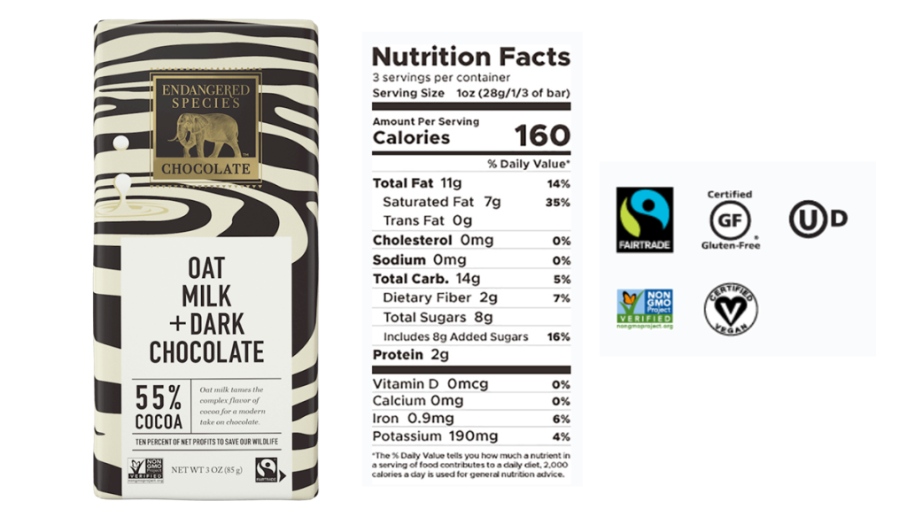 Endangered Species Oat Milk Dark Chocolate - Nutritional Facts and certifications (fair trade, vegan, non GMO, gluten free, kosher) are shown. On sale at the Grocery outlet