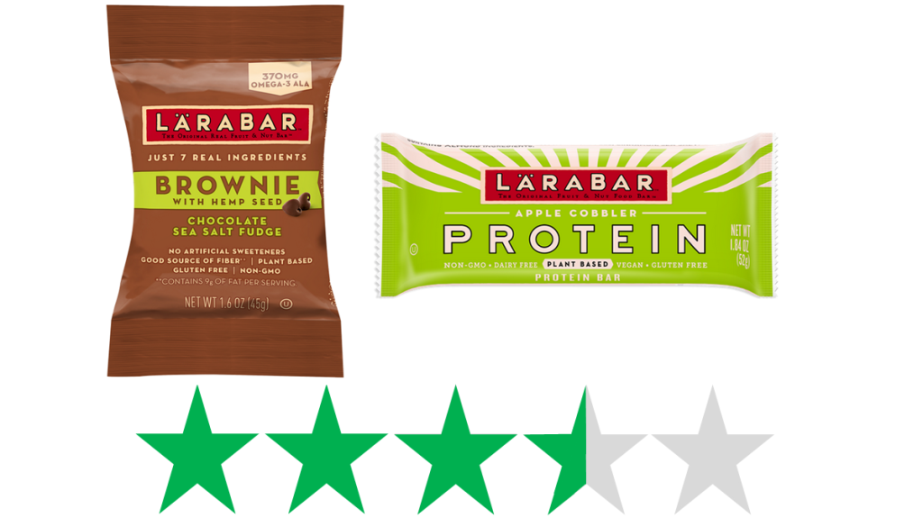 Lärabar – social and environmental impact. An graphic of 3.5 Green Stars representing an ethical score is shown under an image of two Larabar products. The products are Larabar's Hemp Seed Brownie and a Protein Bar.