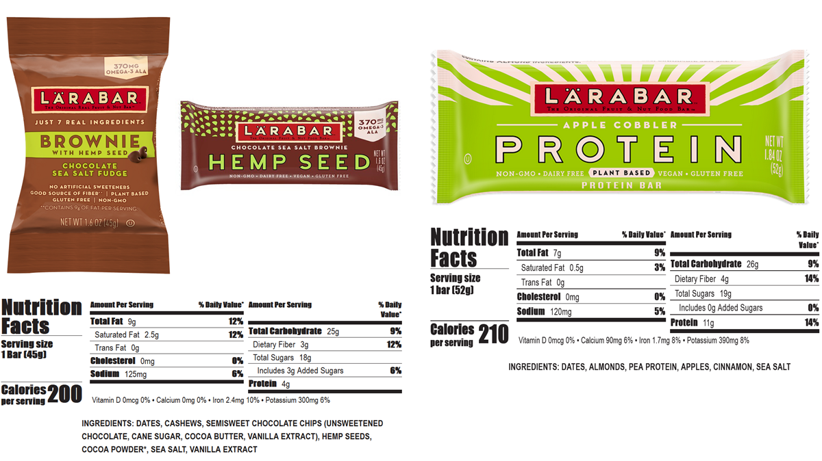 Lärabar – social and environmental impact. Ingredients and nutrition facts are shown for Larabar products, Hemp Seed Brownie and Apple Cobbler Protein Bar