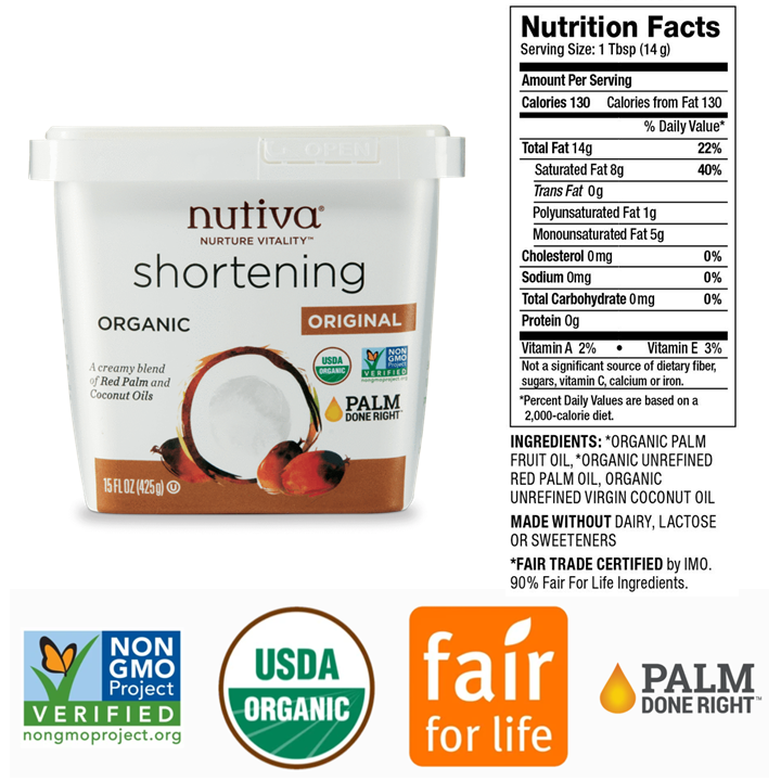 Nutive Shortening is shown with Nutrition Facts listed alongside it and a few of the certifications shown beneath. The certifications include non-GMO, USDA Organic, Fair for Life, and Palm Done Right.
