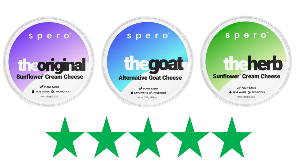 Spero vegan cream cheese – ethical review. Three varities of Spero Foods cream cheese are shown with a graphic of 5 Green Stars underneath, representing a score of 5/5 for social and environmental impact.