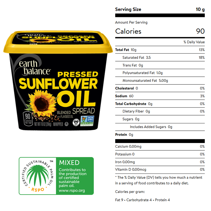 Earth Balance, Pressed Sunflower Oil Spread - Nutrition  Facts and certifications. Certifications include vegan, non-GMO, and RSPO-Mixed.