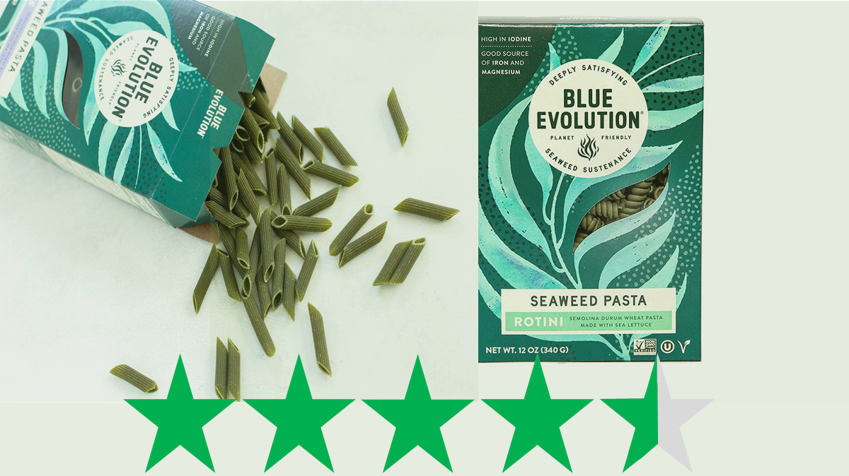 Blue Evolution seaweed pasta - ethical rating. Two kinds of Blue Evolution seaweed pasta are shown - penne and rotini - and underneath is a graphic showing an ethical rating of 4.5 green stars. The Green Stars score represents a score (out of 5) for social and environmental impact.