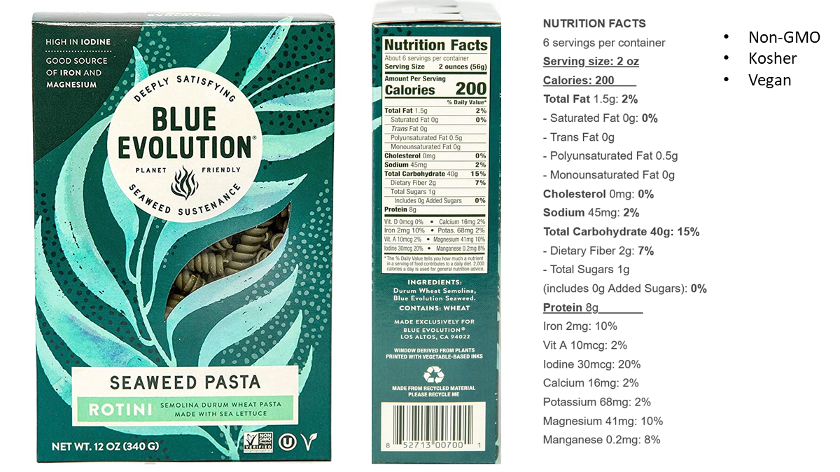 Blue Evolution seaweed pasta - nutrition facts. A box of Blue Evolution seaweed pasta is shown, together with the side panel showing nutrition facts. Each serving of 56 grams of dry pasta contains 40 g of carbs, 8 g of protein, and 1.5 g of fat.