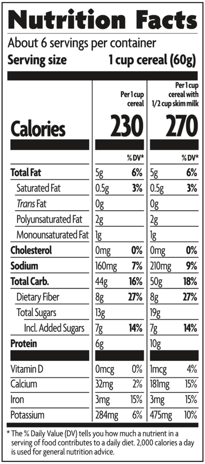 Nature's Path Pumpkin Raisin Crunch - Nutrition Facts. Nutrition Facts are shown for this cereal. Each serving provides 230 calories, 5 grams of fat, 8 g fiber, 7 g added sugar, and 6 g protein. It also provides 15% of the recommended daily value for iron.