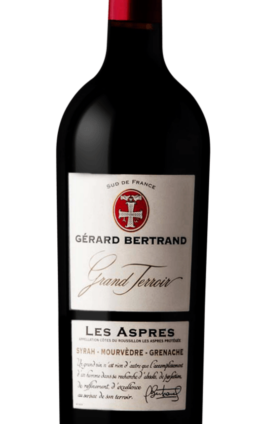 Gérard Bertrand, Grand Terroir - Les Aspres, 2016. The photo shows the wine bottle, focused on the label. Top pick at the Grocery Outlet Wine Sale, November 3-9, 2021