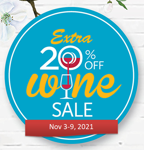 Grocery Outlet wine sale notice, Nov 3-9, 2021. The notice announces 20% off wine from Nov 3-9, 2021
